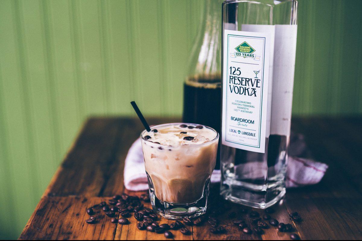 A latte-inspired cocktail utilizing Boardroom Spirits Reading Terminal Market 125 Reserve Vodka.