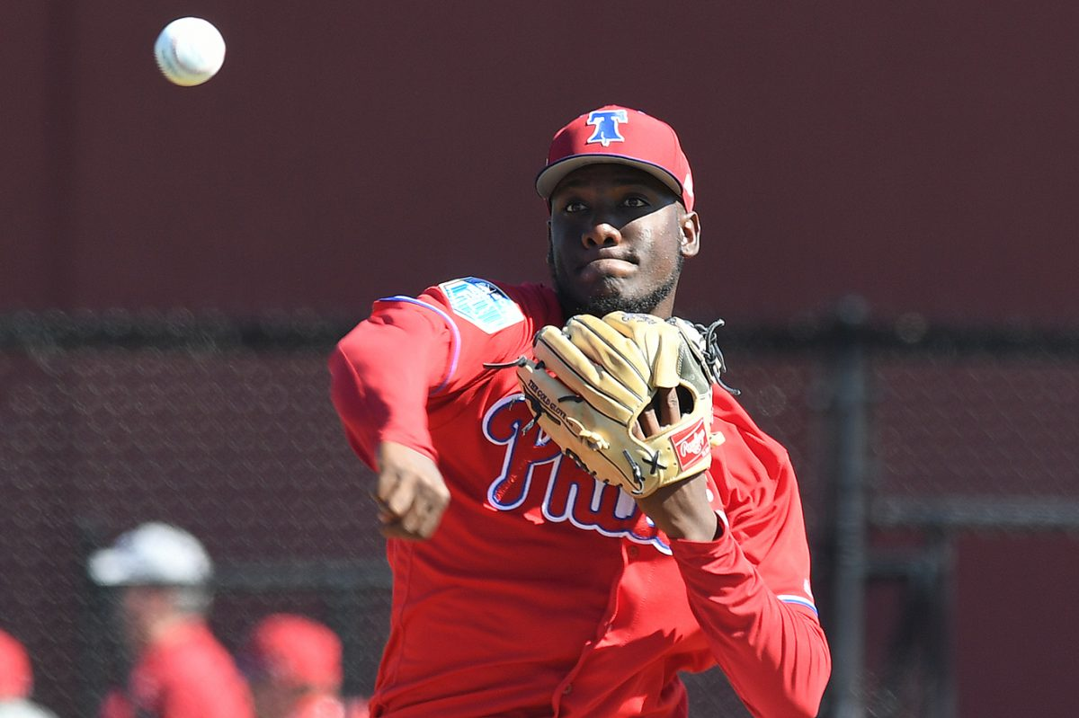 Phillies pitcher Enyel De Los Santos throws during a spring training workout at Spectrum Field in Clearwater, Fla.