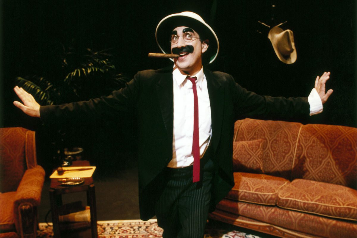 "Frank Ferrante as Groucho Marx in ""An Evening with Groucho Marx,"" through Feb. 25 at the Bucks County Playhouse."