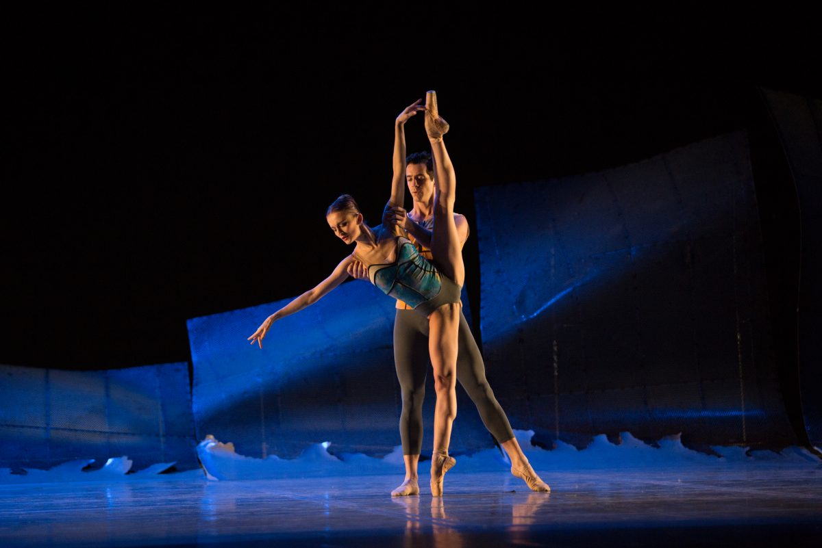 "Pennsylvania Ballet Principal Dancers Oksana Maslova and Ian Hussey in Christopher Wheeldon's DGV: ""Danse à Grande Vitesse."""