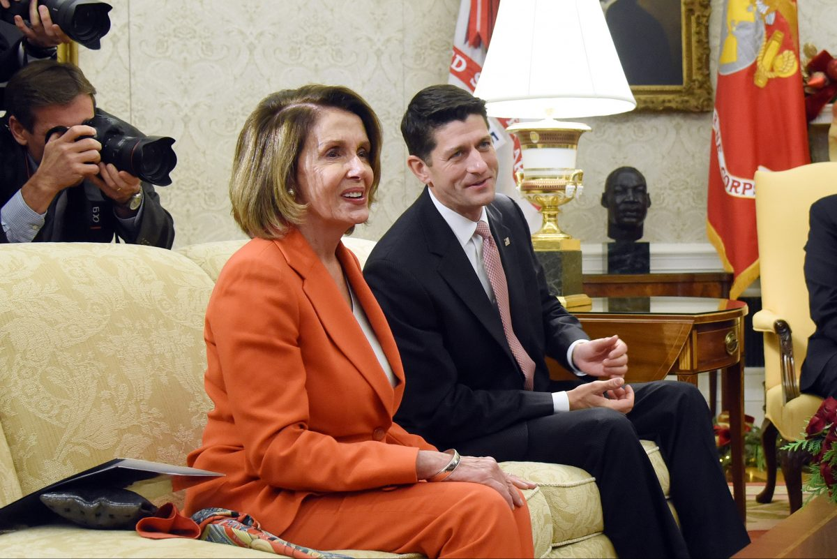 House Minority Leader Rep. Nancy Pelosi (D-Calif.) and House Speaker Paul Ryan, (R- Wis) at the White House in December. A new Pennsylvania Congressional map proposed by the state Supreme Court could help Democrats in the fight for control of the House.