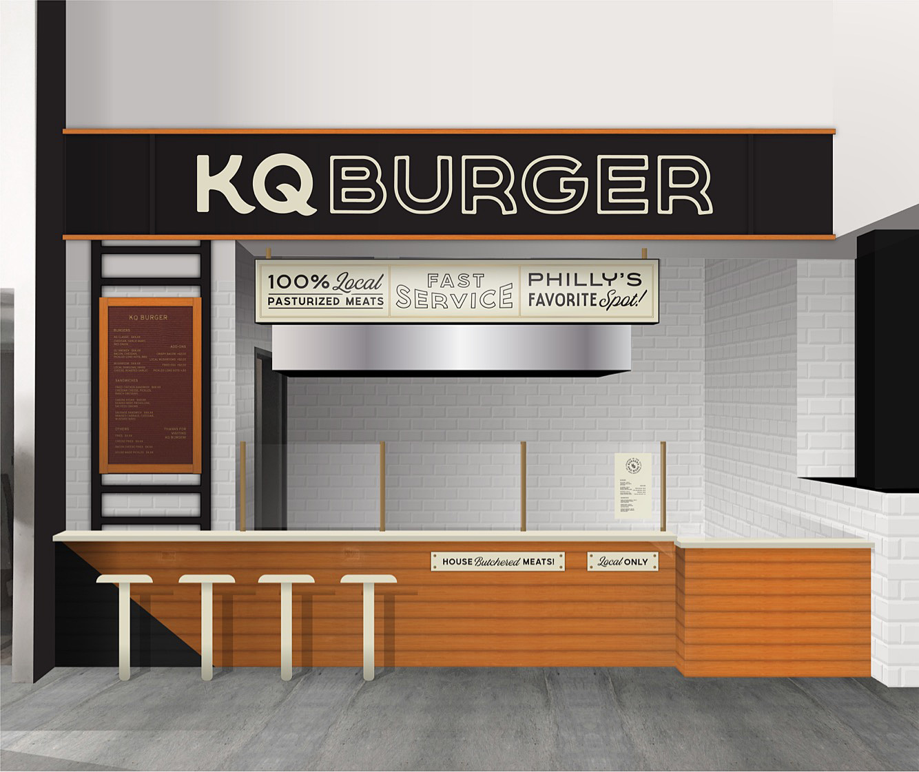 Rendering of KQ Burger at Penn´s food hall.