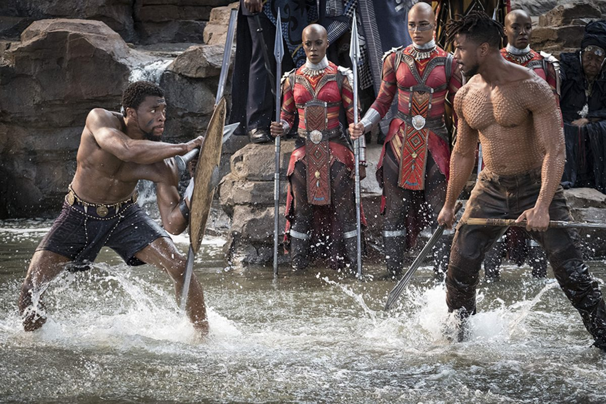 "Chadwick Boseman and Michael B. Jordan are jacked in the film ""Black Panther."" ("
