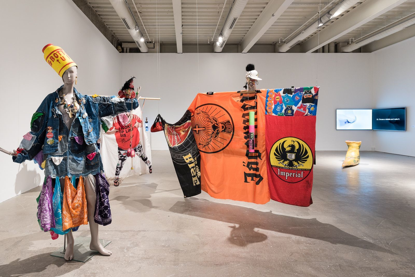 "Costume-based works by Dusty Shoulders in ""Tag: Proposals on Queer Play and the Way Forward"" at ICA,"