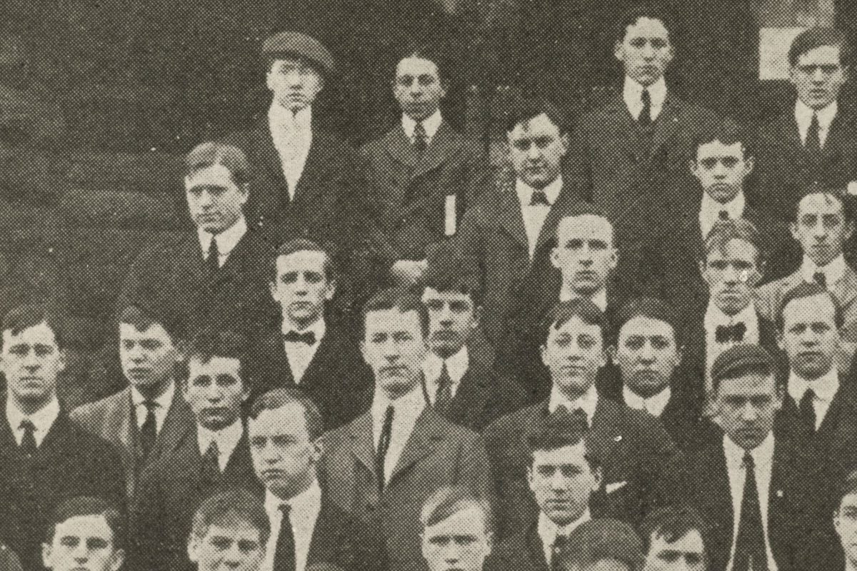 Ezra Pound at the University of Pennsylvania. He's the lad in the cap in the back row.