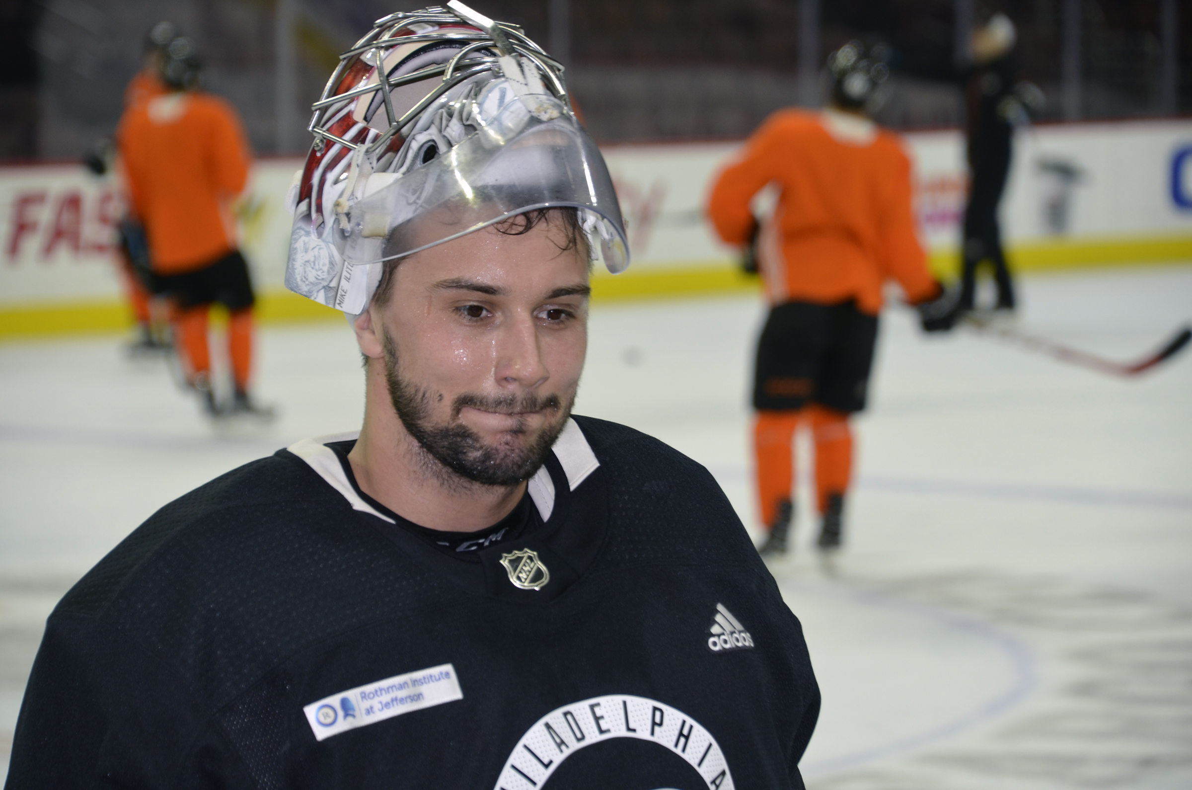 New Flyers goalie Petr Mrazek at Tuesday´s morning skate. He did not start Tuesday´s game, but is expected to play on Thursday.