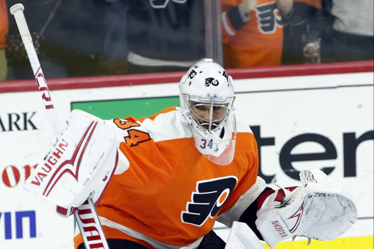 New Flyers goalie Petr Mrazek during warmups prior to the start of Tuesday's game against Montreal. Alex Lyon got the start.