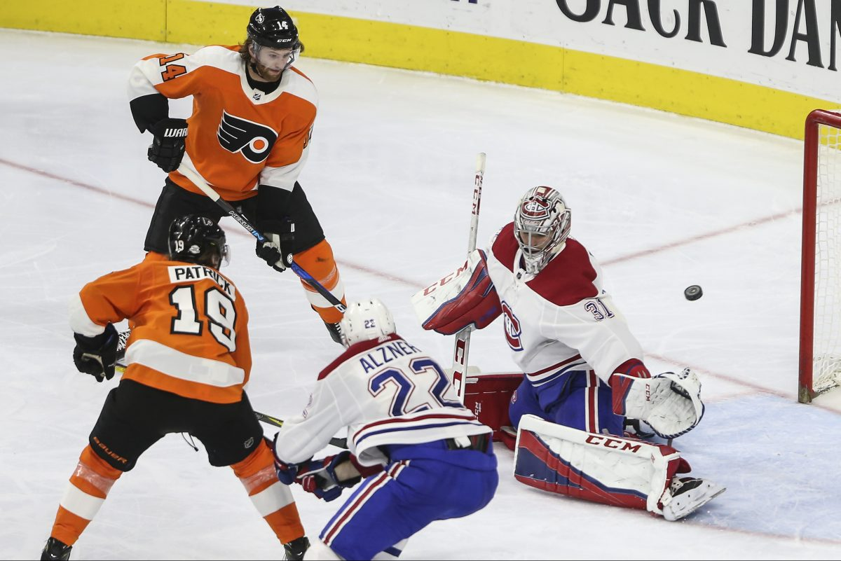 Nolan Patrick (19) gets a power play goal past Canadiens' goalie Carey Price to tie in the second period on Tuesday. The Flyers would win in overtime.