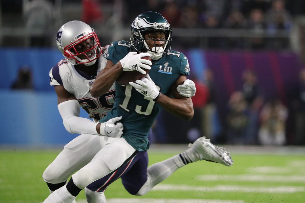 Eagles wide receiver Nelson Agholor during the third quarter at Super Bowl LII, at U.S. Bank Stadium in Minneapolis, Minnesota, Sunday, Feb. 4, 2018. DAVID MAIALETTI / Staff Photographer.