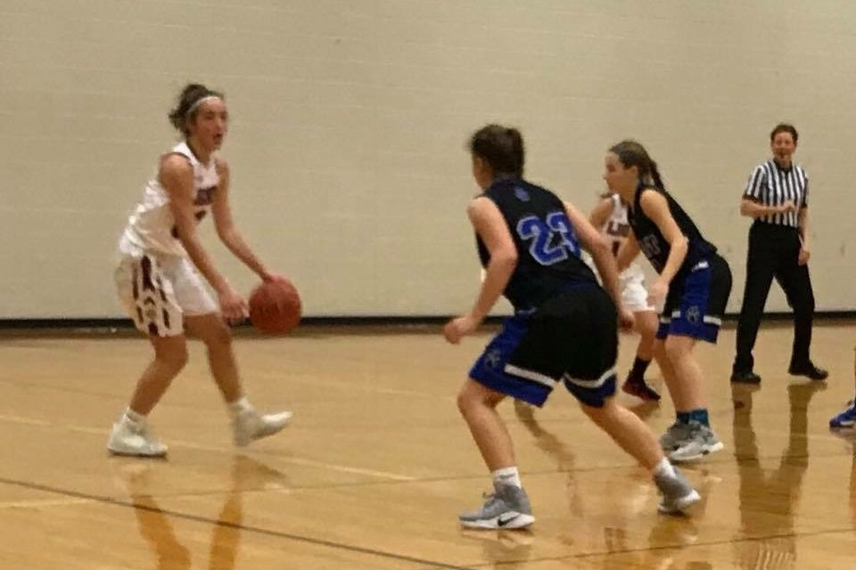MaST Charter´s Allyson Holtz and Katelyn Fowler play defense.