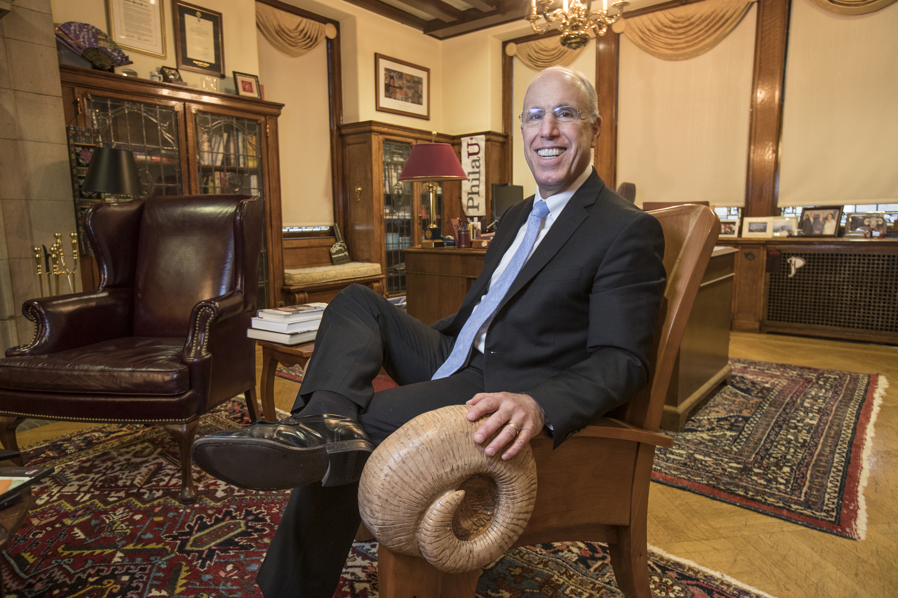 Stephen Spinelli, chancellor of Jefferson University and former president of Philadelphia University sitting in the Ram chair in his office. MICHAEL BRYANT / Staff Photographer