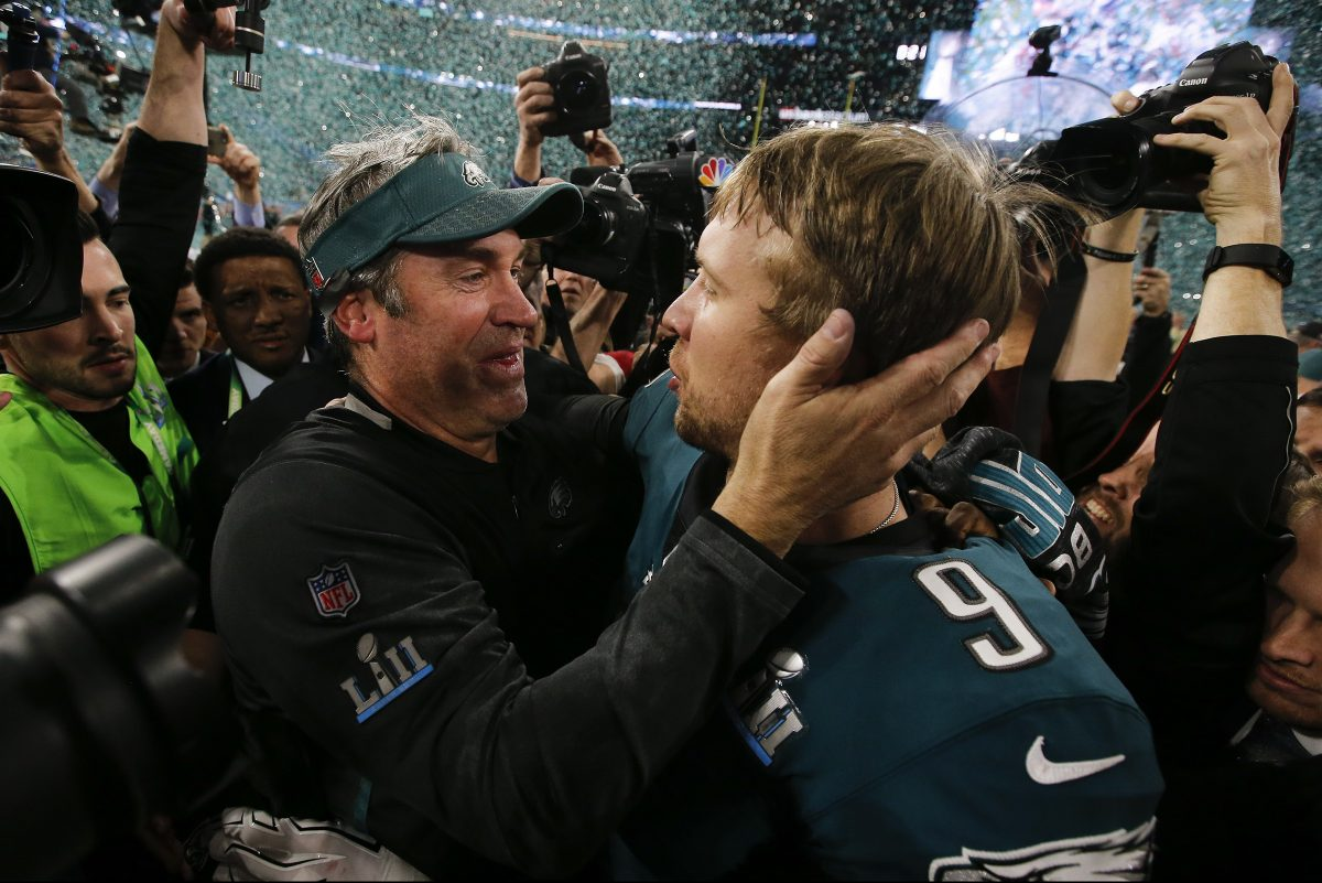 Eagles coach Doug Pederson and quarterback Nick Foles celebrates after beating the New England Patriots for the Super Bowl LII title on Sunday, February 4, 2018 in Minneapolis.