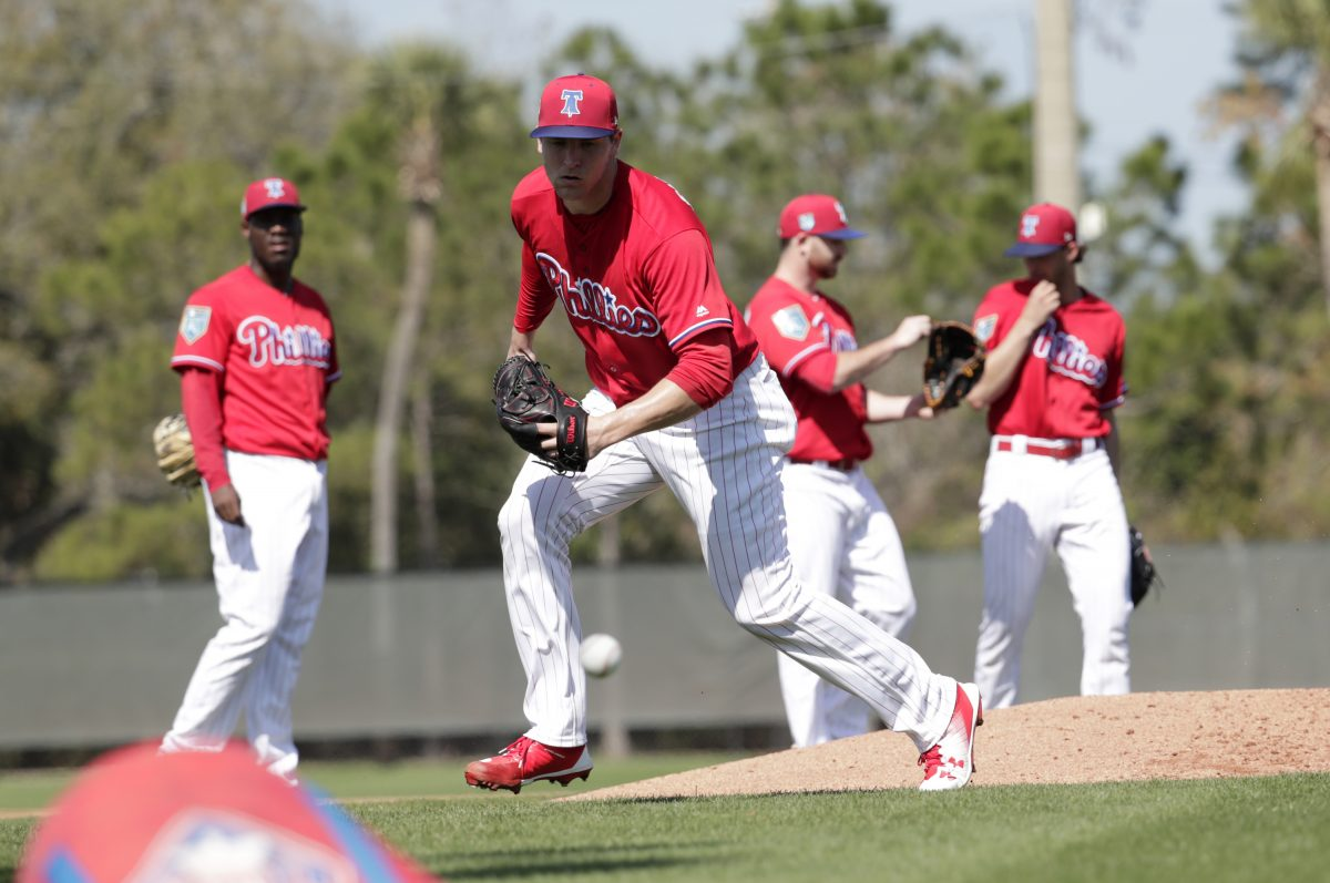 Phillies starting pitcher Jerad Eickhoff does drills at spring training in Clearwater, Fla. on Thursday.