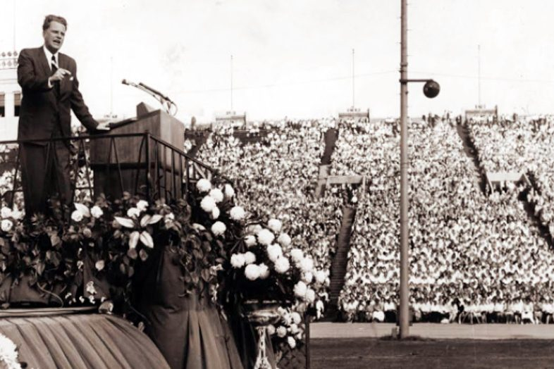 Billy Graham speaking at the 1961 crusade in Philadelphia.