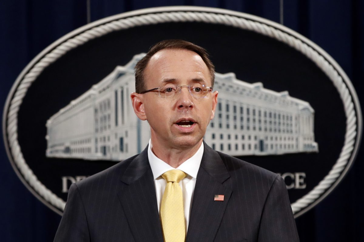 Deputy Attorney General Rod Rosenstein, speaks to the media with an announcement that the office of special counsel Robert Mueller says a grand jury has charged 13 Russian nationals and several Russian entities, Friday, Feb. 16, 2018, in Washington. The defendants are accused of violating U.S. criminal laws to interfere with American elections and the political process.