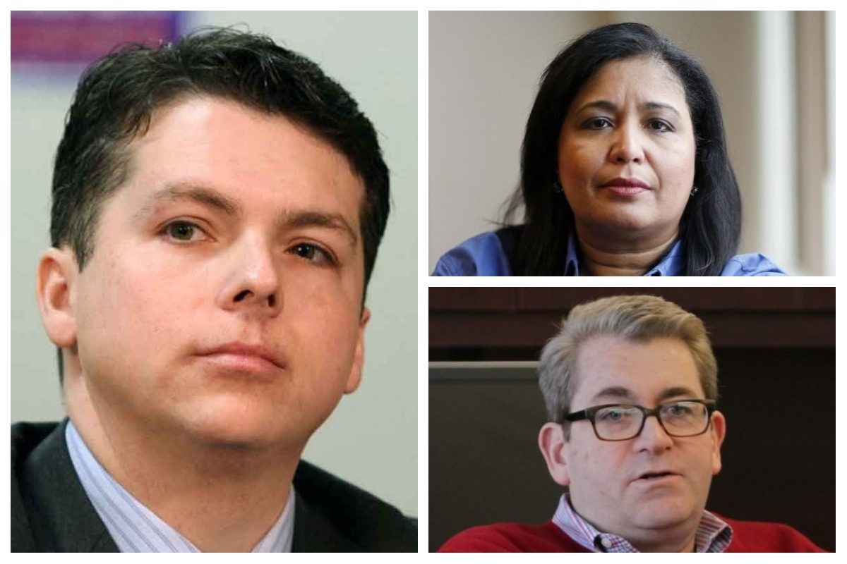 Councilwoman Maria Quiñones-Sánchez (top right) and School Reform Commission member Bill Green (bottom right) are rumored to be thinking about challenging U.S. Rep. Brendan Boyle (left).