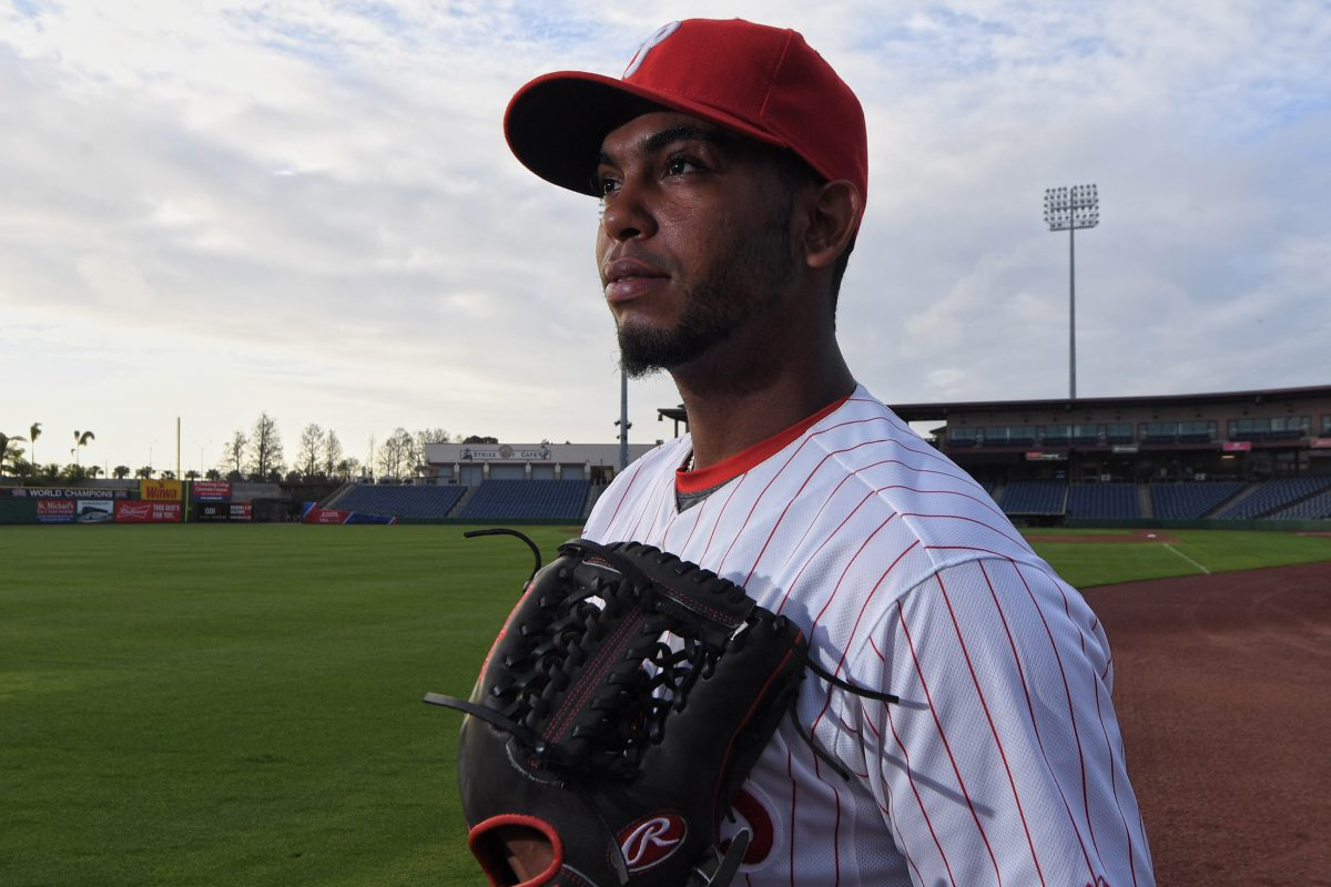 Phillies Seranthomy Dominguez is photograph at spring training, Spectrum Field, in Clearwater Florida. Tuesday, Feb. 20, 2018.