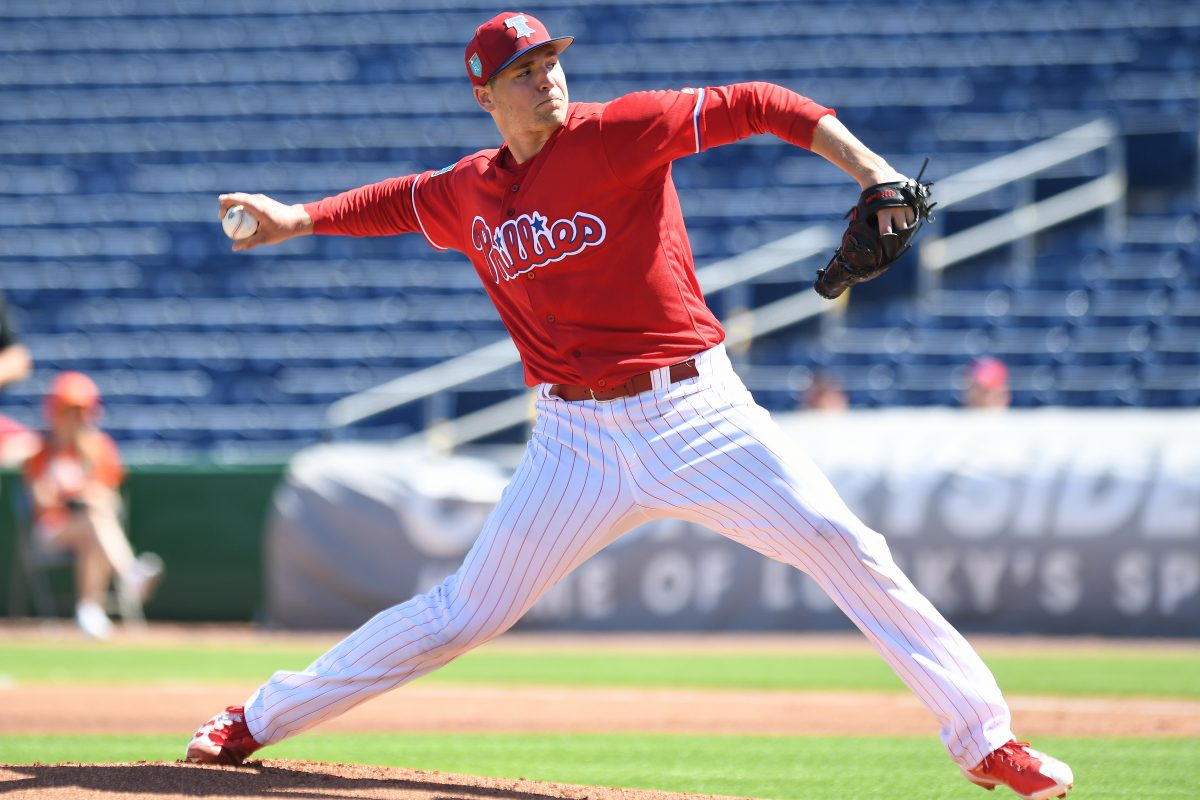 Phillies pitcher, Jerad Eickhoff throws during the first inning of the game against University of Tampa,Thursday, Feb. 22, 2018, at Spectrum Field, in Clearwater Florida.