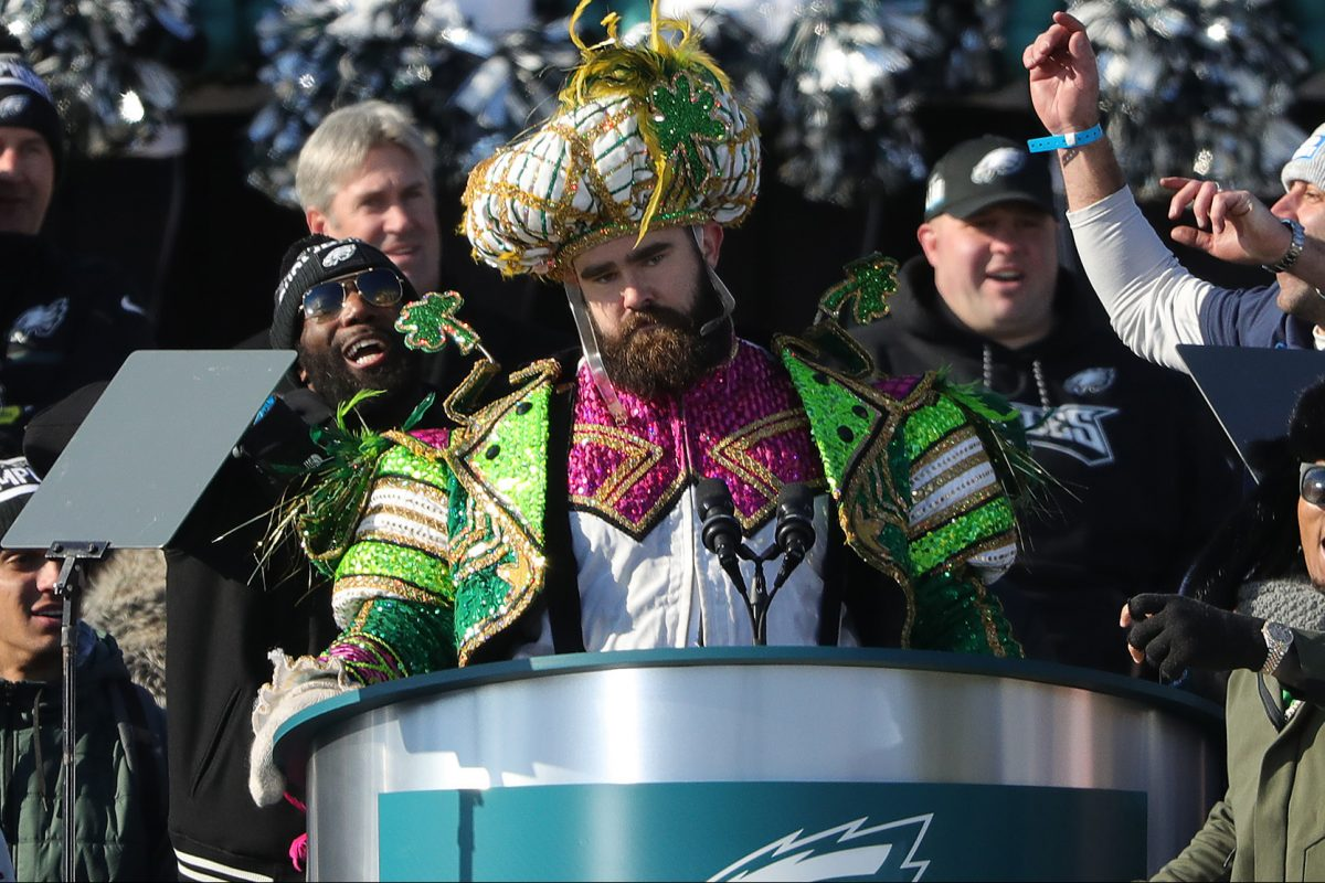 Jason Kelce dressed like a Mummer and now will play sax like a Mummer on Sunday in Manayunk.