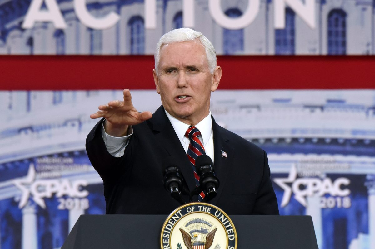 Vice President Pence speaks during the Conservative Political Action Conference on Thursday, Feb. 22, 2018, at the Gaylord National Resort and Convention Center in National Harbor, Md.