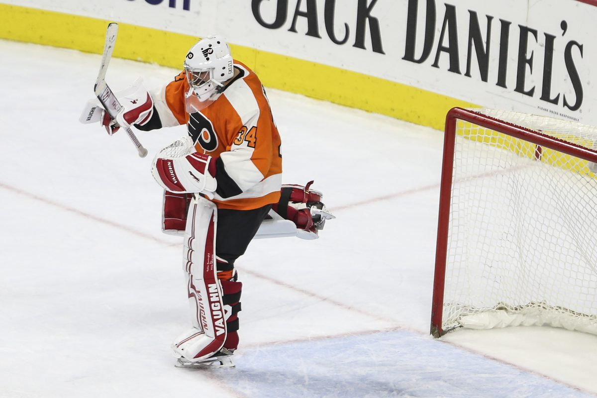 Flyers' goalie Petr Mrazek celebrates his first win as a Flyer against the Blue Jackets at the Wells Fargo Center in Philadelphia, Thursday, February 22, 2018. Flyers beat the Blue Jackets 2-1.