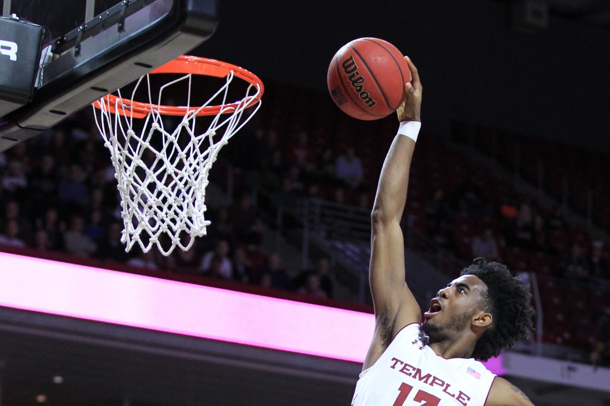 Quinton Rose of Temple dunking against Wichita State on Feb. 1.