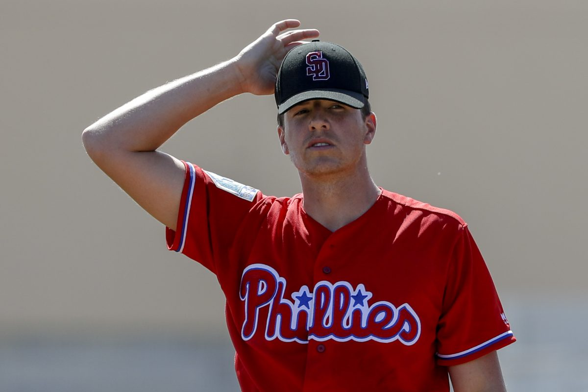 Phillies pitcher Nick Pivetta adjust his cap after giving up a first-inning home run to Curtis Granderson.