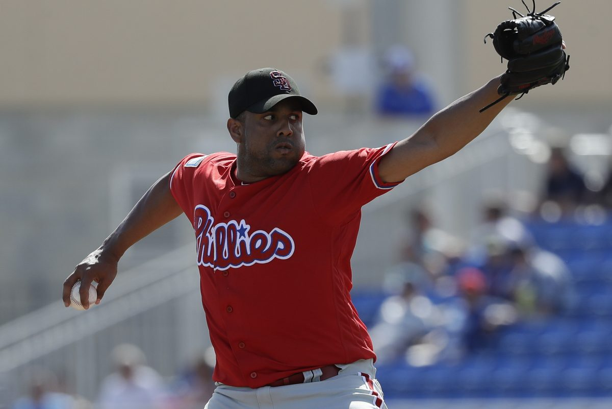 Phillies pitcher Francisco Rodriguez throws a fifth-inning pitch against the Toronto Blue Jays during a spring training game at Dunedin Stadium in Dunedin, FL on Friday, February 23, 2018.