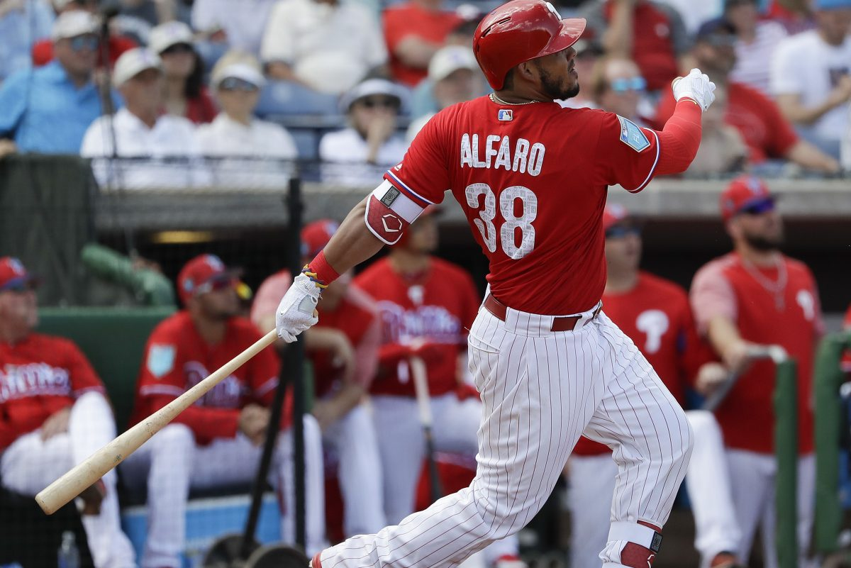Phillies Jorge Alfaro watches his second-inning grand slam home run against the Baltimore Orioles during the spring training game at Spectrum Field in Clearwater, FL on Saturday, February 24, 2018.