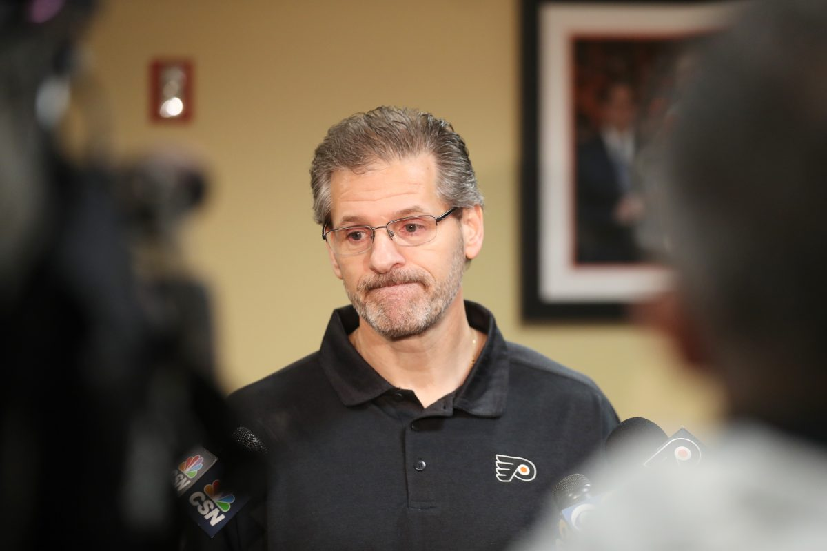 Flyers GM Ron Hextall at the Flyers Skate Zone in April.
