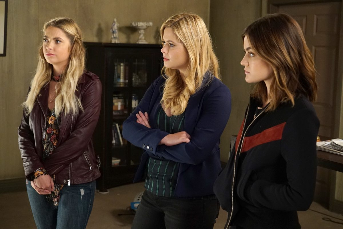 "Ashley Benson, Sasha Pieterse, and Lucy Hale in a scene from the June 20 episode of Freeform's ""Pretty Little Liars"""