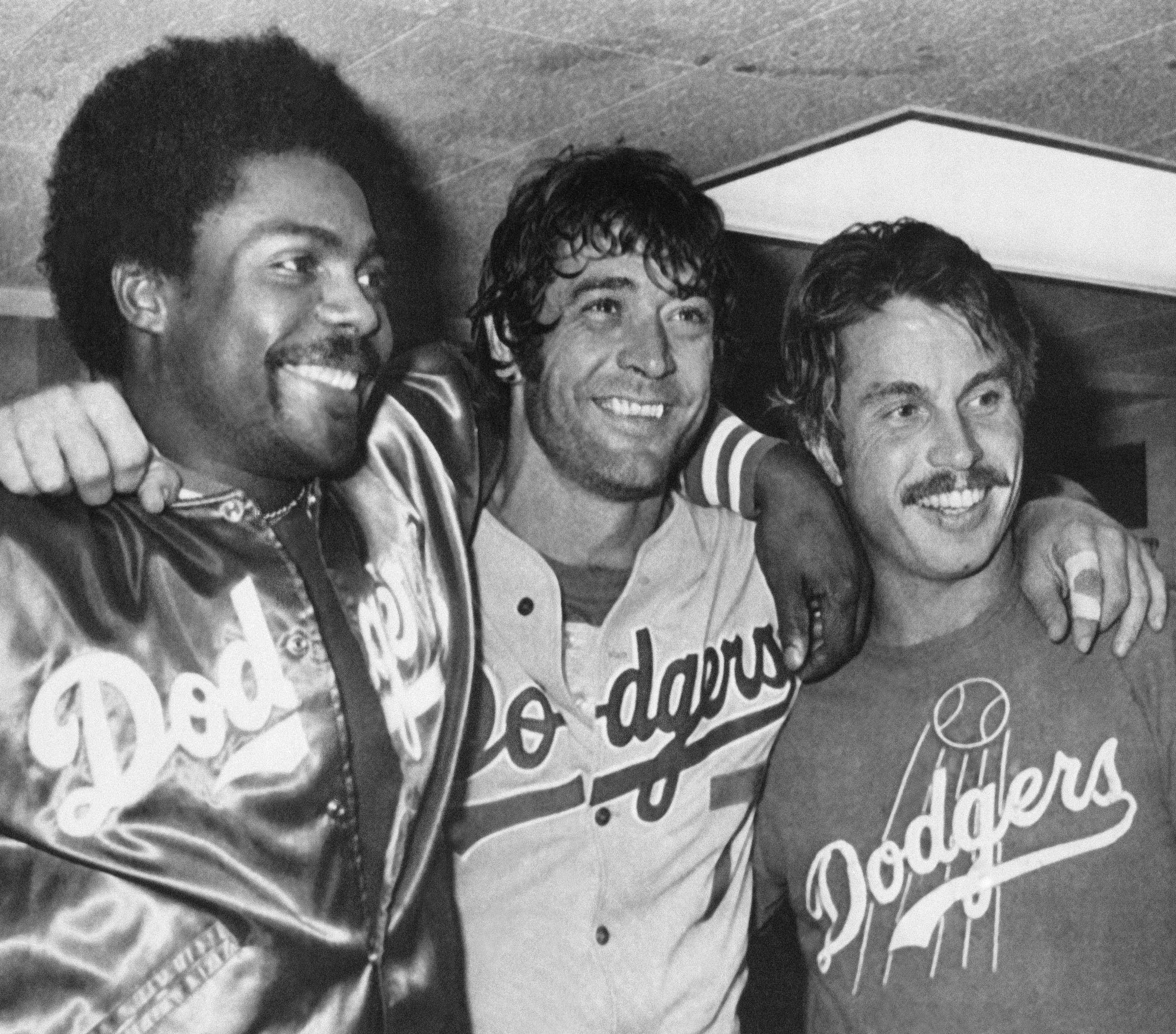 This Pedro Guerrero (left) shared the 1981 World Series Most Valuable Player Award with Dodgers teammates Steve Yeager (center) and Ron Cey.
