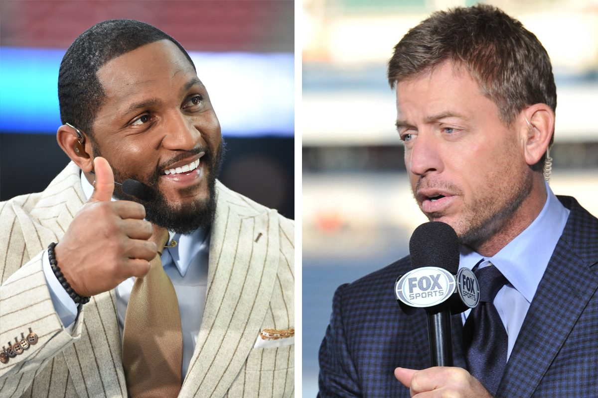 Former Ravens linebacker Ray Lewis (left) has been hired by Fox Sports, while ongtime NFL announcer Troy Aikman reportedly angered network execs with his criticism of Skip Bayless.