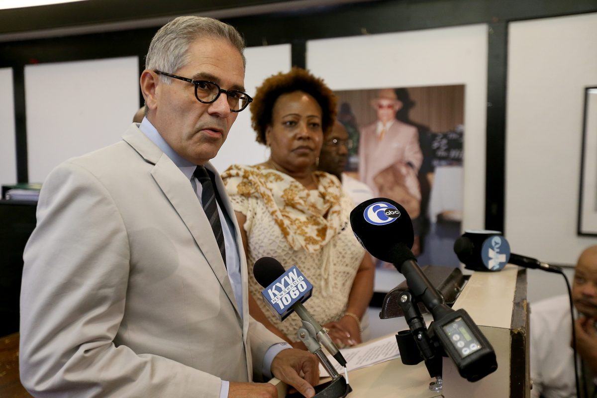 Democratic DA nominee Larry Krasner receives an endorsement from the Guardian Civic League and its president, Rochelle Bilal. DAVID MAIALETTI / Staff Photographer