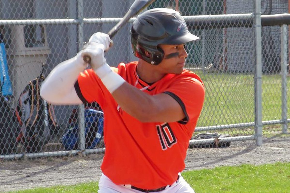 Angel Lopez bats at Northampton Community College. The 20-year-old catcher from Puerto Rico played at Perkiomen School and was drafted by the Cleveland Indians.