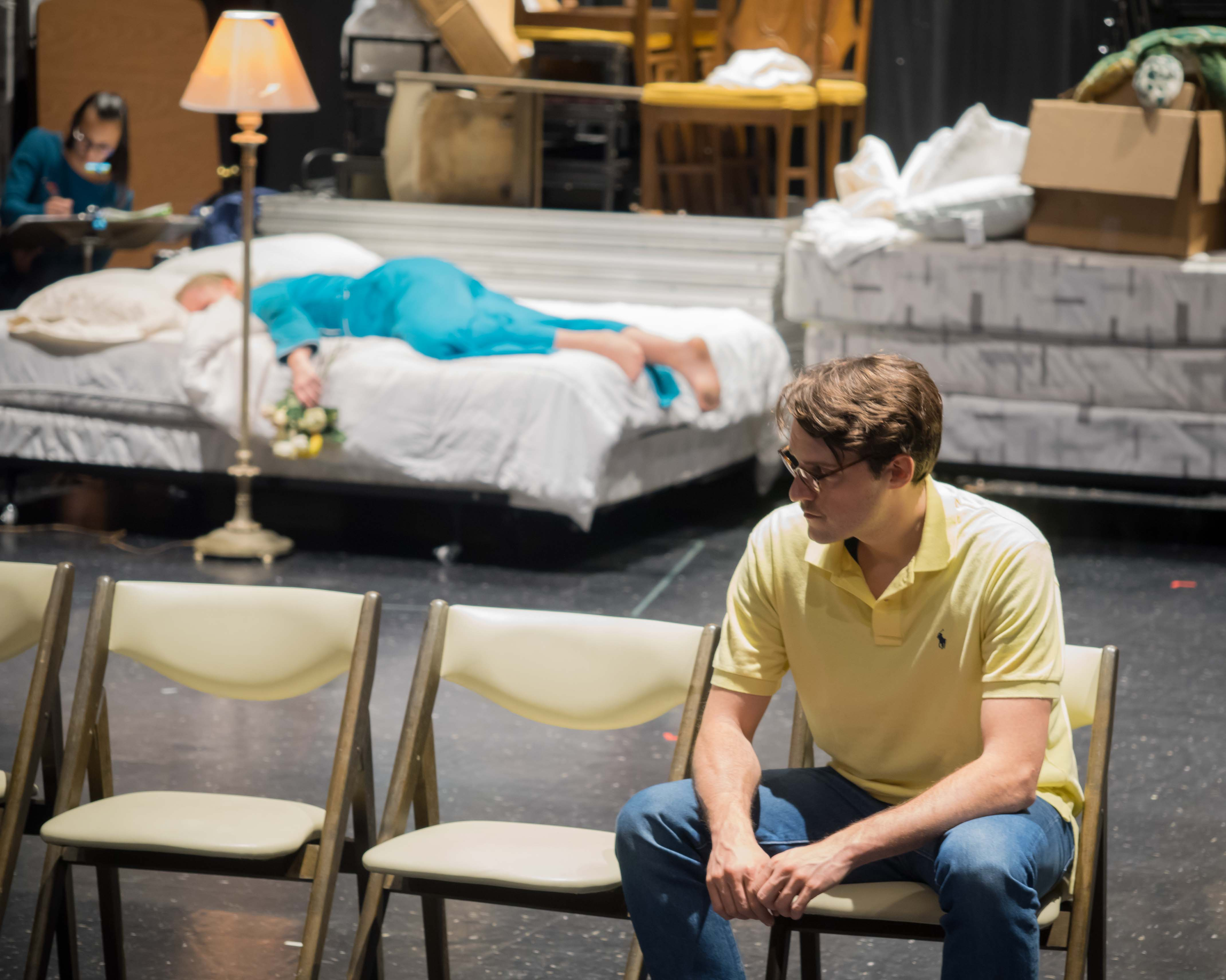 Curtis Opera Theatre production of Leonard Bernstein´s ´A Quiet Place,´ with 2016 Curtis graduate Jean-Michel Richer as Francois (foreground) and Siena Licht Miller as Dinah (on bed). (Photo by Annie Sarachan)