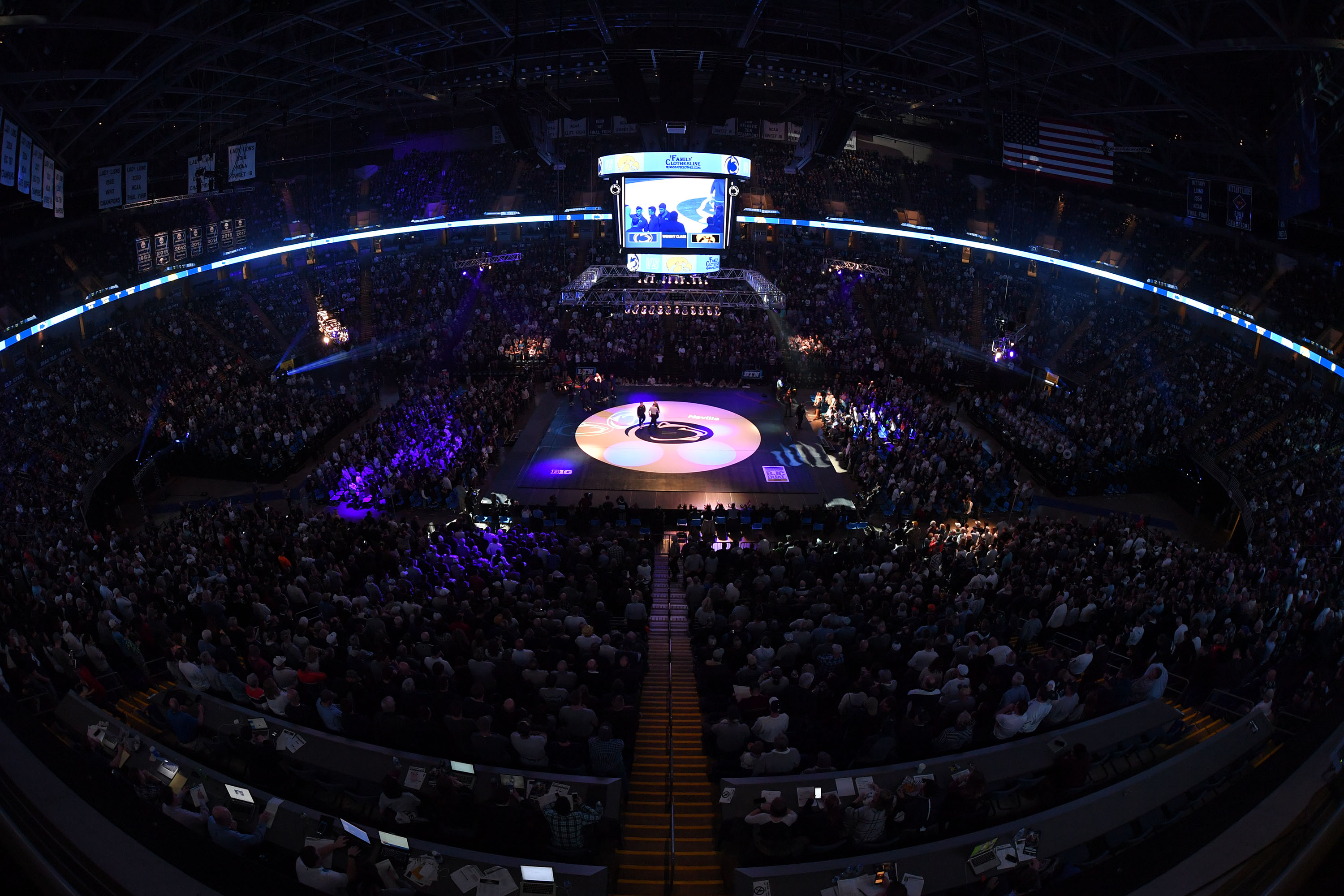 The crowd at the Iowa dual on Feb. 10.
