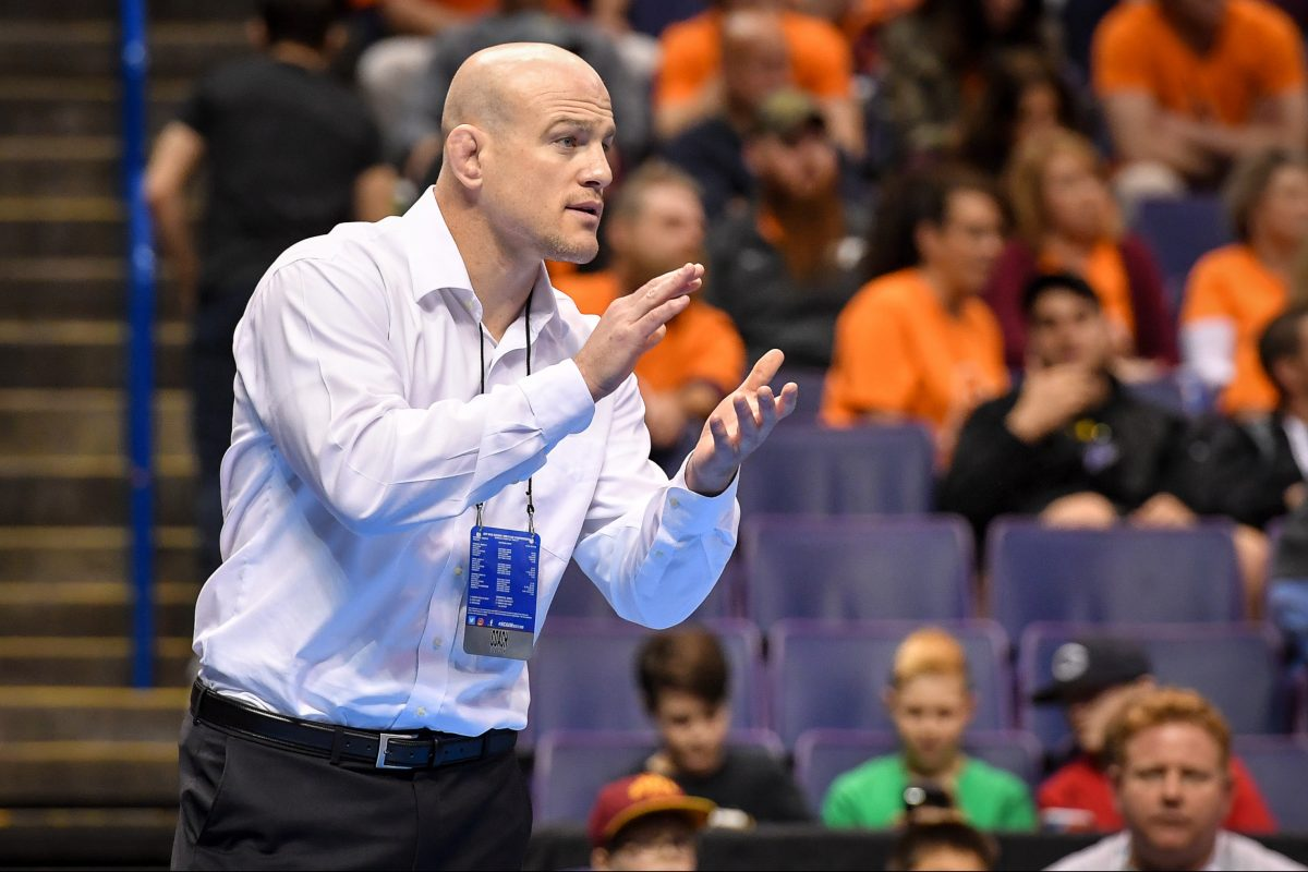 Cael Sanderson has guided the Nittany Lions to six NCAA championships.