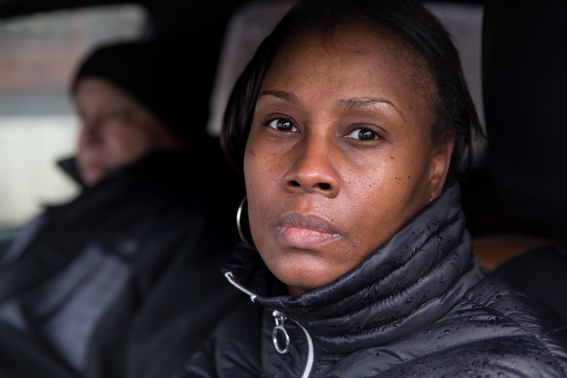Mykia Capers shown here in her car near the corner of West Glenwood Avenue and North 29th Street, in Philadelphia, Friday, March 2, 2018. Capers has posted a billboard seeking information about the murder of her son. JESSICA GRIFFIN / Staff Photographer
