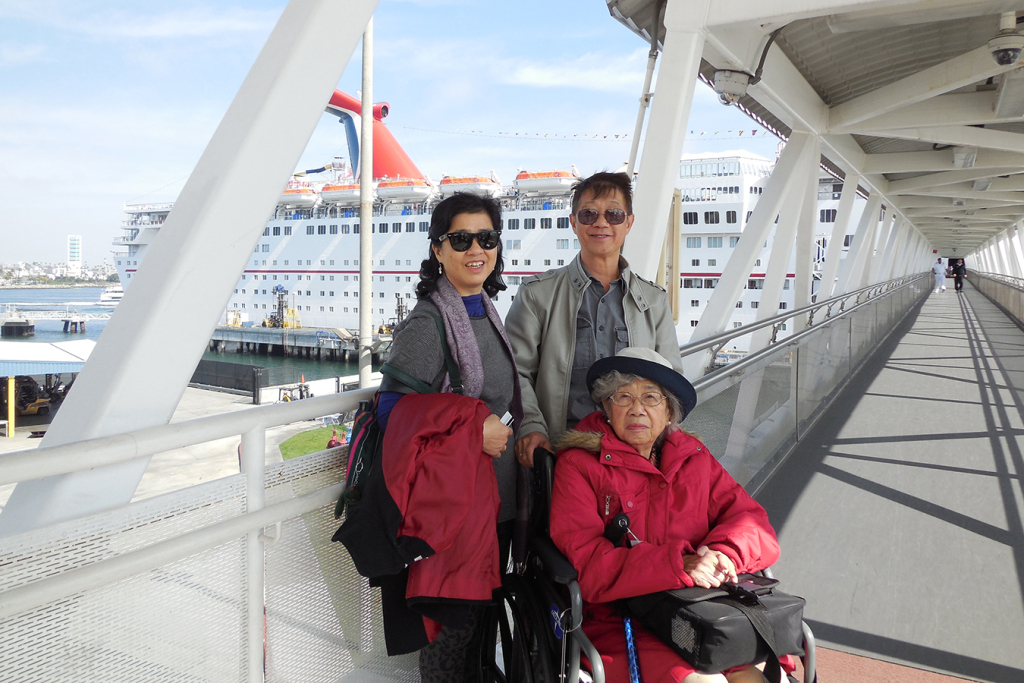 Two months before her upper-spine surgery in 2014, Paulina Tam (left) took a cruise to Mexico with her husband, Timothy, and mother-in-law, Irene Tam. After finishing careers as a nurse and an educator, she had planned to travel the world with her husband of 32 years.
