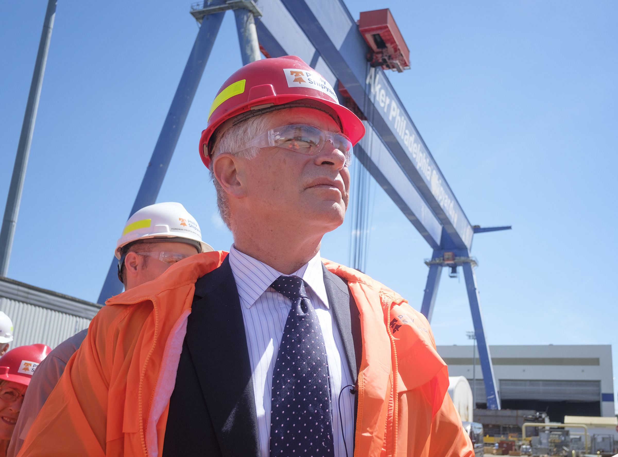 Patrick Harker, President and CEO of the Federal Reserve Bank of Philadelphia tours the shipyard.