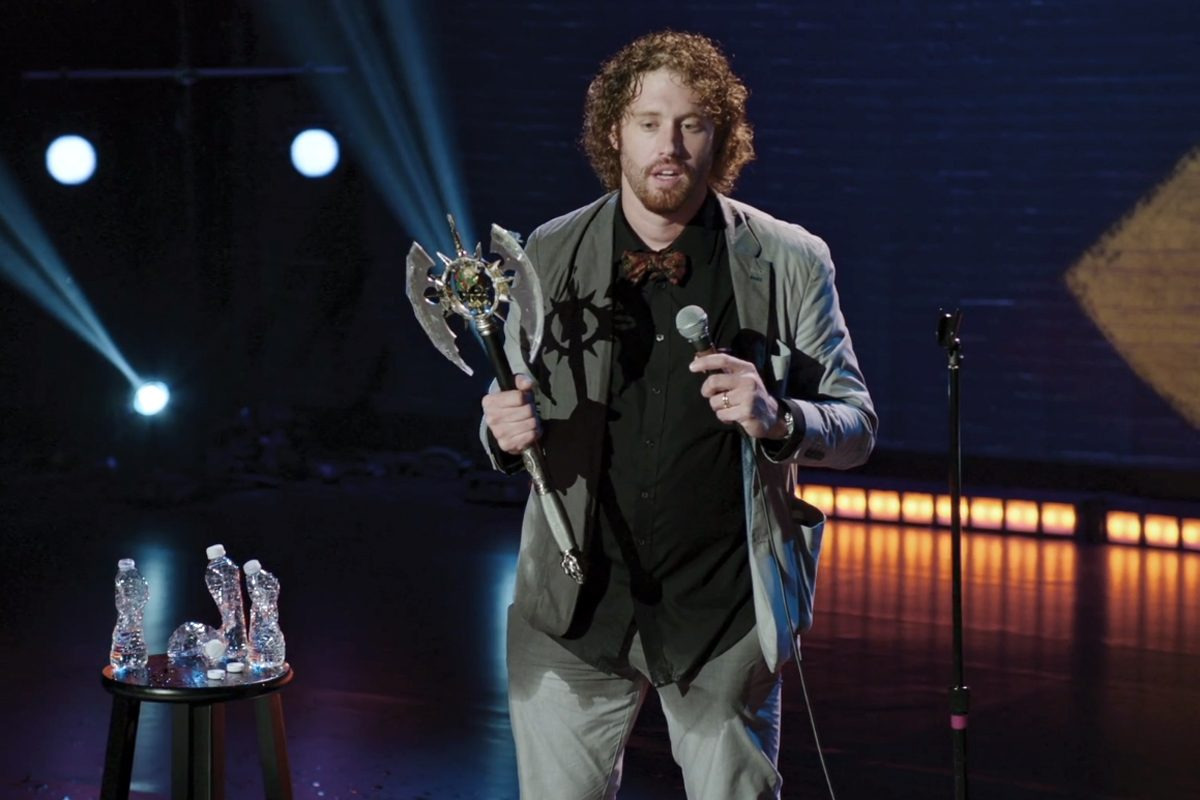 TJ Miller appears in his special, 'Meticulously Ridiculous,' on HBO. Miller purchased the battle axe he is holding at Asian Treasures just off South St. in Philadelphia.
