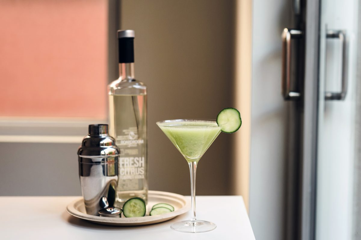 The Citrus Avocado Martini from Boardroom Spirits gets a touch of healthy creaminess from the addition of mashed avocado.