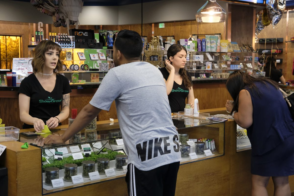 Customers at a medical marijuana dispensary in downtown Los Angeles.