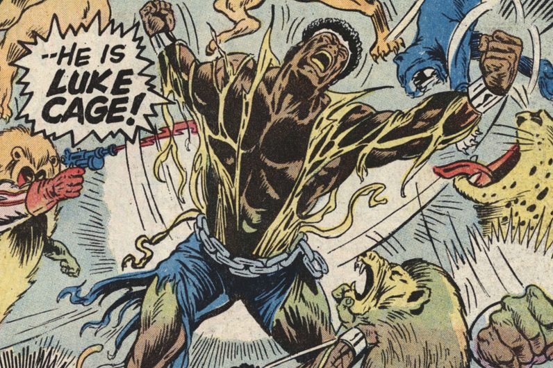 Luke Cage: Hero For Hire #13 from 1973 by Billy Graham, part of the Black Pulp! exhibition at the African American Museum in Philadelphia.