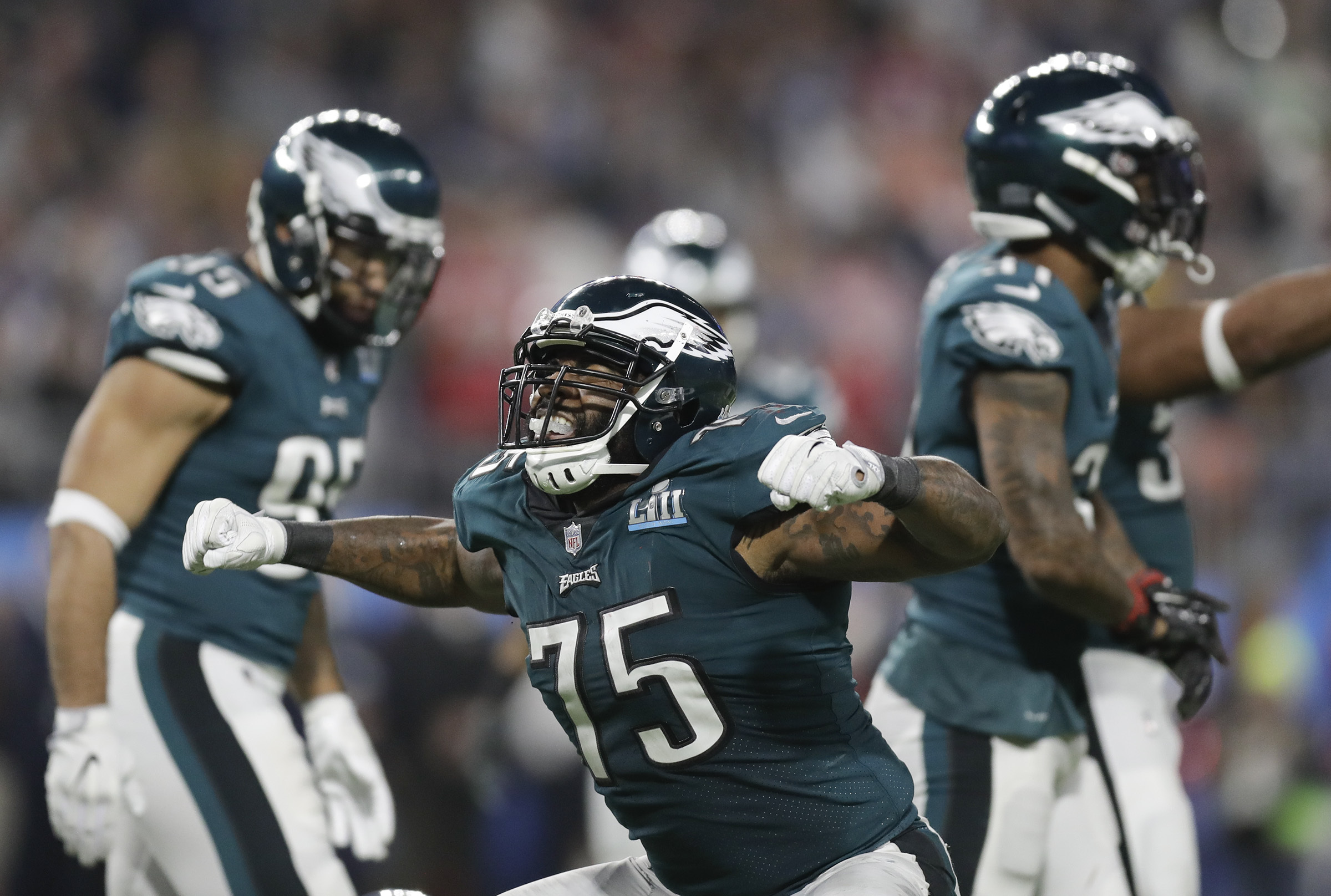 The arrival of Michael Bennett would mean the (likely) departure of Vinny Curry, shown here celebrating a stop in Super Bowl LII.