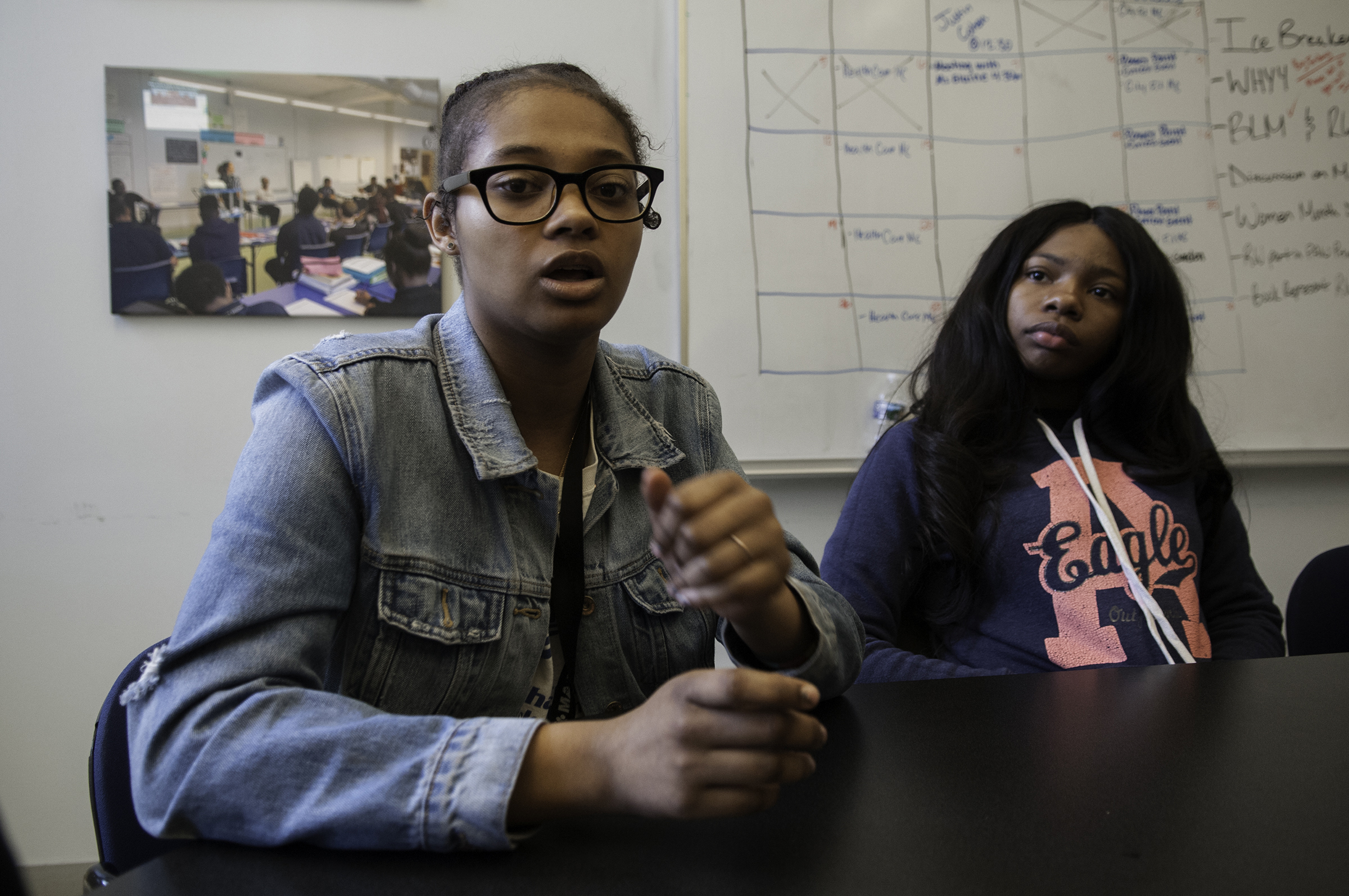 Kaiyah Taylor (left) talks about how shootings in the inner city are different from the school shootings in Parkland, Fla.