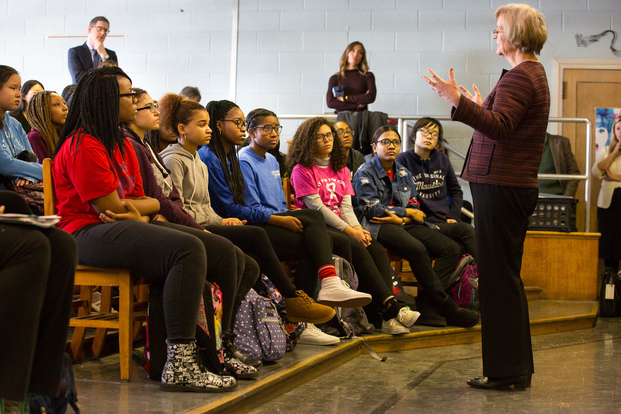 """Harvard President Drew Gilpin Faust tells Girls High students to draw from her experience that """"you can do anything."""""""