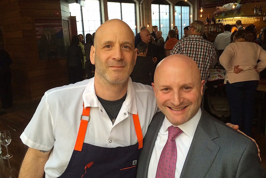 Marc Vetri (left) and Jeff Benjamin at the 2012 opening of Alla Spina restaurant, which they later sold to Urban Outfitters.