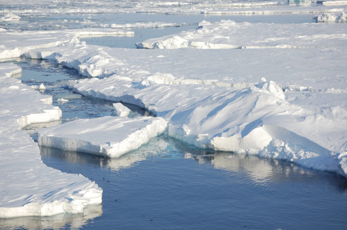 In this file photo taken April 24, 2009, ice floats in the Arctic near Svalbard, Norway.